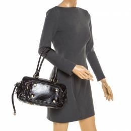 Marc By Marc Jacobs Black Laminated Leather Zip Pockets Satchel 178702