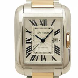 Cartier Silver Stainless Steel Large Tank Anglaise Men's Wristwatch 30MM 187109