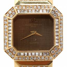 Baume&Mercier Brown 18K Yellow Gold Diamond Women's Wristwatch 26MM 199046