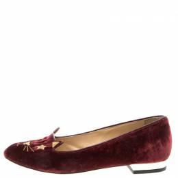 Charlotte Olympia Burgundy Velvet Superstar Kitty Smoking Slippers Size 36 96056