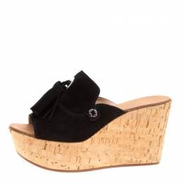 Casadei Black Suede Tassel Peep Toe Cork Platform Wedge Slides Size 40 154102