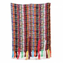 Chanel Multicolor Printed Silk Fringed Edged Scarf 143283