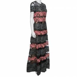 Elie Saab Black and Salmon Pink Paneled Floral Embroidered Tulle Gown S 141673