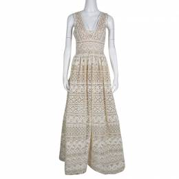 Elie Saab Ivory and Beige Embroidered Guipure Lace Plunge Neck Sleeveless Gown S 138405