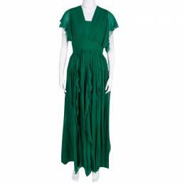 Elie Saab Green Silk Chiffon Flutter Sleeve Gathered Evening Gown S 138395