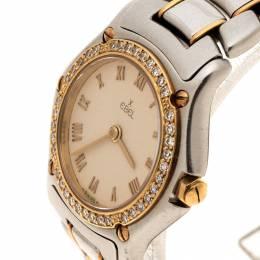 Ebel Cream Yellow Gold& Stainless Steel Diamonds 1911 Women's Wristwatch 24 mm 131778