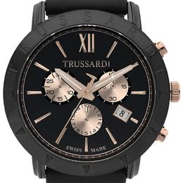 Trussardi Black Ion-Plated Stainless Steel Nestor Men's Wristwatch 42MM 170727