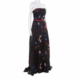 Elie Saab Black Floral Printed Silk Belted Strapless Gown S 176865
