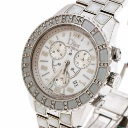 Dior White Stainless Steel Christal CD114311 Women's Wristwatch 38 mm 181467