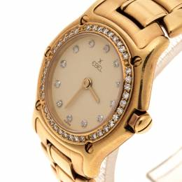 Ebel Cream18K Yellow Gold Diamond 8057902 Women's Wristwatch 24 mm 131773