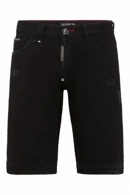 Джинсовые шорты черного цвета Philipp Plein 1795136784