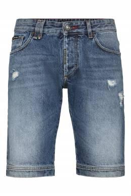Синие шорты из денима с потертостями Philipp Plein 1795136786