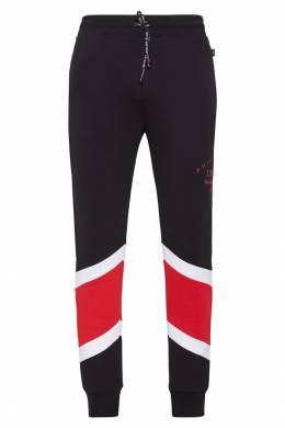 Черные брюки с красно-белыми вставками Philipp Plein 1795136800