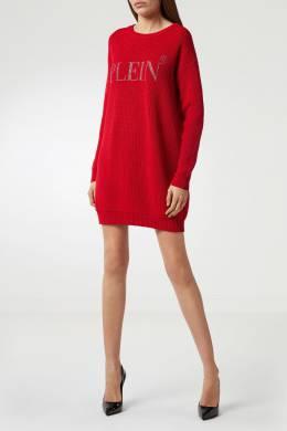 Красное платье-джемпер крупной вязки Philipp Plein 1795136842