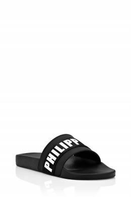 Черные шлепанцы с белым логотипом Philipp Plein 1795136868