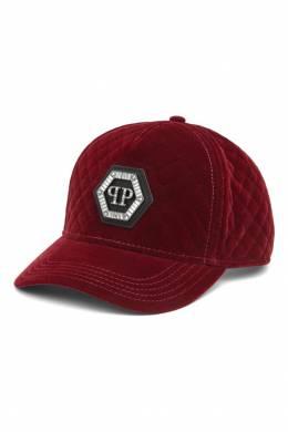 Бархатная кепка бордового цвета Philipp Plein 1795136704