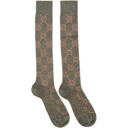 Gucci Grey Crystal GG Socks 476525 3G199