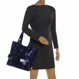 Mulberry Royal Blue Patent Leather Roxanne Tote 201514