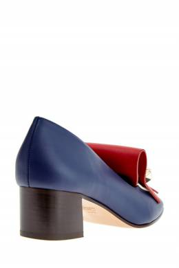 Синие кожаные мокасины на каблуке Valentino Garavani 210137004