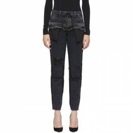 Unravel Black Double Layer Boysk Jeans 192806F06901201GB