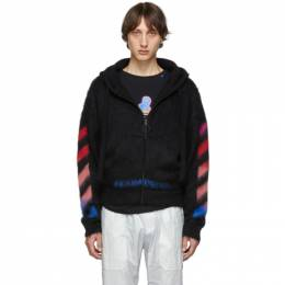 Off-White Black and Multicolor Brushed Mohair Diag Hoodie 192607M20202106GB