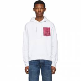 Off-White White and Pink Halftone Arrows Slim Hoodie 192607M20200907GB