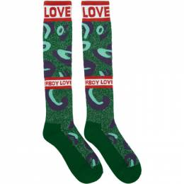 Charles Jeffrey Loverboy Green and Blue Loverboy Monster Socks 192101M22000201GB