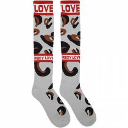 Charles Jeffrey Loverboy Grey and Brown Loverboy Monster Socks 192101M22000101GB
