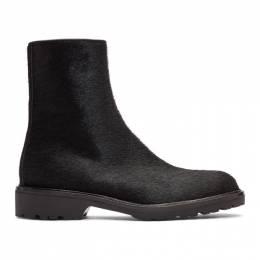Dries Van Noten Black Pony Hair Zip Boots 192358M22800108GB