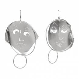 J.W. Anderson Silver Moon Face Earrings 192477F02200101GB