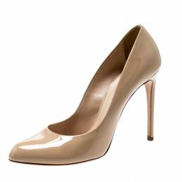 Casadei Beige Patent Leather Pointed Toe Pumps Size 39