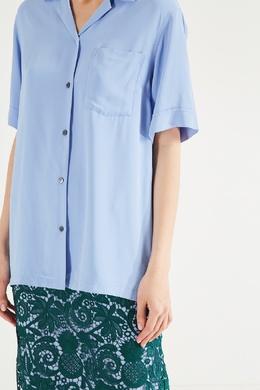 Голубая рубашка с коротким рукавом Dries Van Noten 1525137252