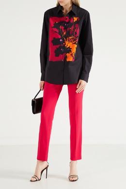 Черная рубашка с орхидеей Dries Van Noten 1525137254