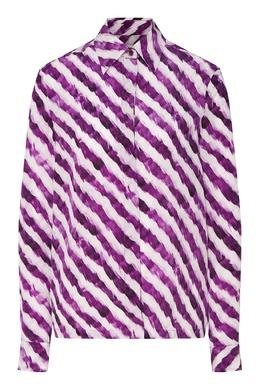 Бело-фиолетовая шелковая блуза Dries Van Noten 1525137267