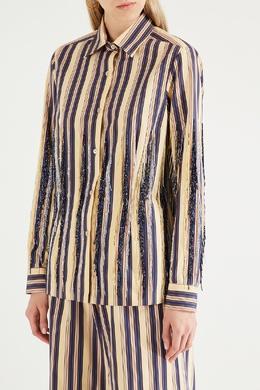 Полосатая рубашка с бисером Dries Van Noten 1525137275