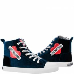 Love Moschino Blue Corduroy High Top Sneakers Size 36 169366