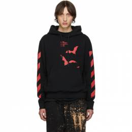 Off-White Blackand Red Diag Bats Slim Hoodie 192607M20200104GB