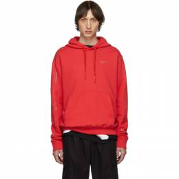Off-White SSENSE Exclusive Red Unfinished Diag Hoodie 192607M20202407GB