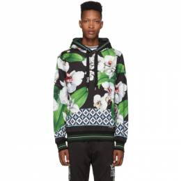 Dolce&Gabbana Black and Multicolor Orchid Print Hoodie 192003M19301005GB