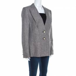 Escada Brown Basketweave Linen and Wool Faux Collar Tailored Blazer L