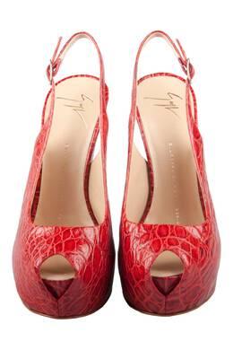 Giuseppe Zanotti Design Red Croc Embossed Monro Leather Peep Toe Platform Sandals Size 37.5