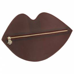 Charlotte Olympia Bordeaux PVC Lip Clutch 203395
