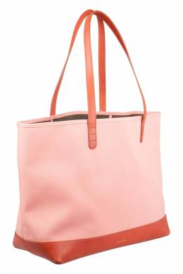 Mansur Gavriel Peach/Brown Canvas and Leather Large Tote 204557