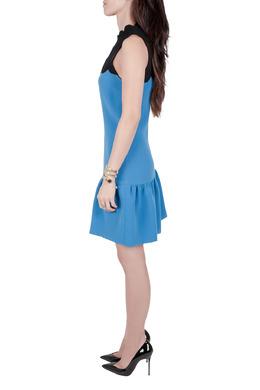 Victoria Victoria Beckham Blue Contrast Scalloped Yoke Flounce Dress M 204595