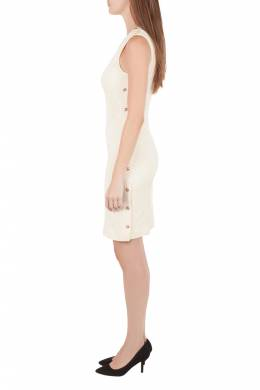 Versace Cream Knit Rose Gold Medusa Button Detail Sleeveless Fitted Dress M 204603