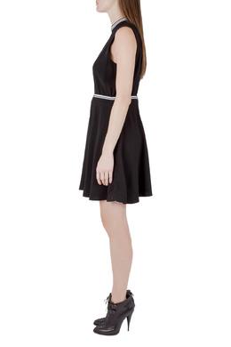Victoria Victoria Beckham Black Crepe Ribbed Trim Sleeveless Mini Dress M 204606