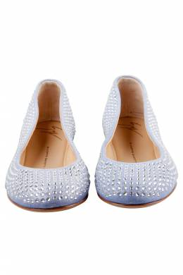Giuseppe Zanotti Design Light Blue Suede Crystal Embellished Ballet Flats Size 38