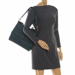 Dolce&Gabbana Green Dauphine Leather Large Miss Sicily Bag 204585