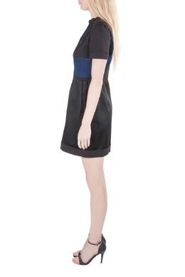 Victoria Victoria Beckham Black Contrast Jacquard Paneled Zip Front Dress M 204624