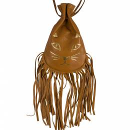 Charlotte Olympia Brown Leather Fringe Kitty Set of 2 Pochette 204016
